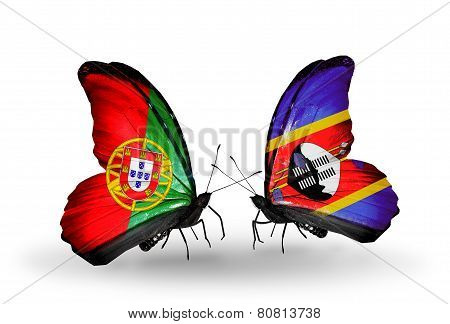 Two Butterflies With Flags On Wings As Symbol Of Relations Portugal And Swaziland