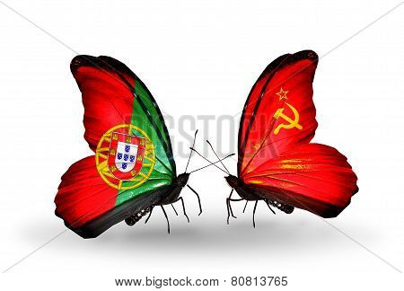 Two Butterflies With Flags On Wings As Symbol Of Relations Portugal And Soviet Union