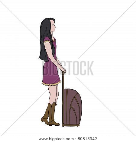 Brunette girl in purple dress with trolley