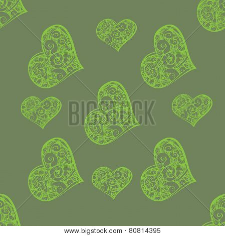 Beautiful seamless background with hearts