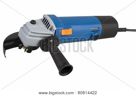 Angle Grinder Without Abrasive Disk Isolated On A White Background With Clipping Path