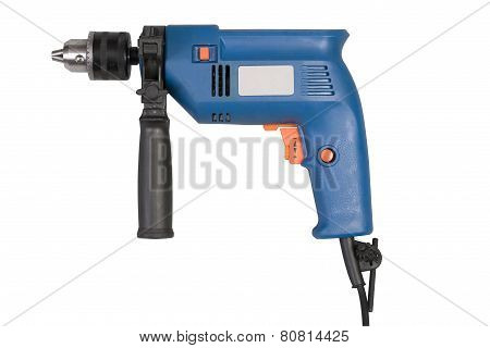 Electric Drill Isolated On White Background With Clipping Path