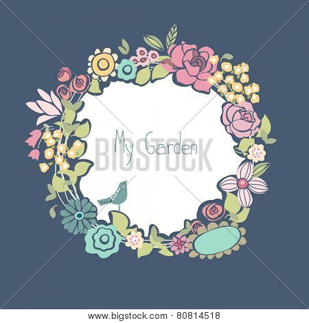floral card with blooming wreath