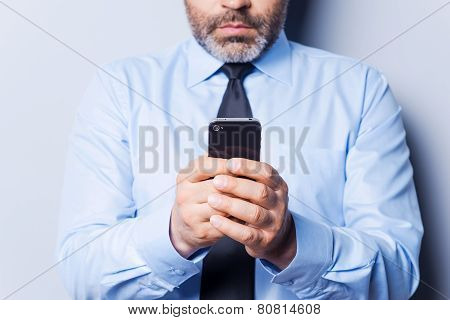 Businessman Typing Messages.
