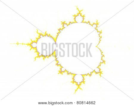 Yellow mandelbrot on white ground