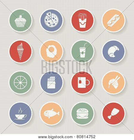 Round Food Icons. Vector illustration