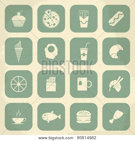 Retro Food Icons. Vector illustration