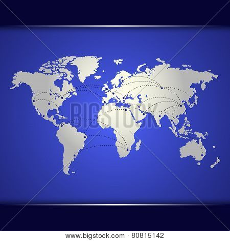 World Map Of Blue Networking