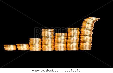 Beautiful Business Chart Concept Of Golden Coins, Shows An Uneven Growth Is Isolated On Black Backgr