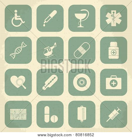 Retro Medical Icons. Vector illustration