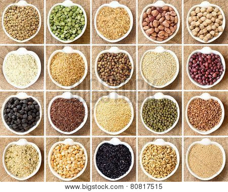 Collage Of Legumes And Cereals