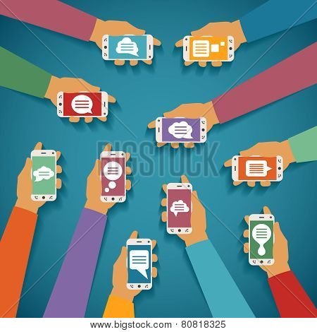 Vector Concept Of Mobile Instant Messenger Chat With Hands Smartphones And Popup Dialog Boxes