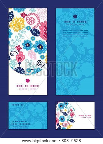 Vector fairytale flowers vertical frame pattern invitation greeting, RSVP and thank you cards set
