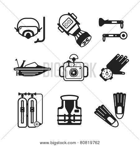 Set Of Vector Monochrome Diving Icons In Flat Style