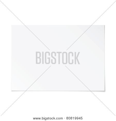 Vector Landscape Orientation Empty A4 White Paper With Shadow