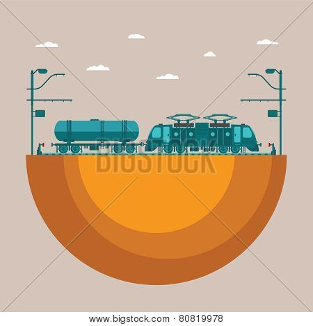 Vector Concept Of Railway Transport System