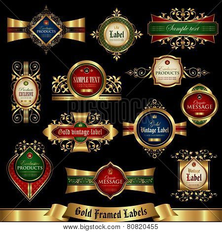 Gold framed labels set 5