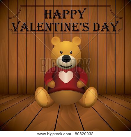 Valentine Day Teddy Bear Brown Stuffed Toy Print On Chest Wooden Background