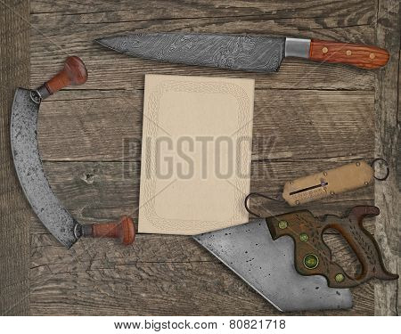 Vintage Kitchen Knives And Utensils Collage