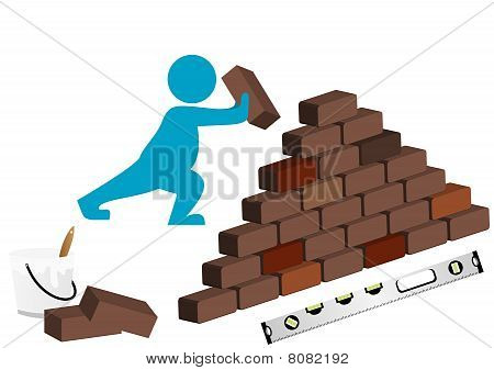 Illustration of a man building with level, bucket and wall