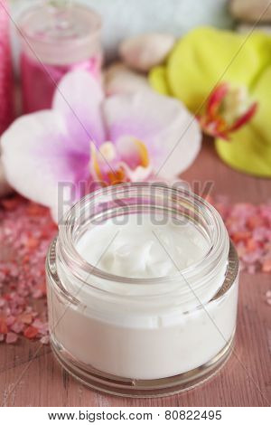 Spa treatments and cream with  orchid flower extract, close-up