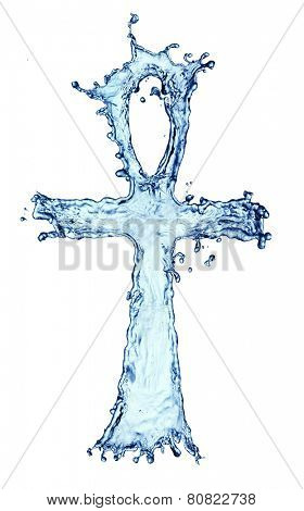 Egyptian cross Ankh made of water splash isolated on the white background