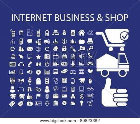 internet business, shop, ecommerce, store, logistics icons, signs, illustrations set, vector