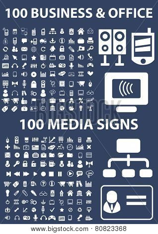 200 business, presentation, media, communication, connection, smartphone, electronics, phone icons, signs, illustrations set, vector