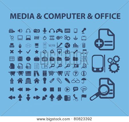meia, computer, office, business management icons, signs, illustrations set, vector