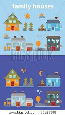 family houses, night, day, buildings, village, townhouses icons, signs set, vector