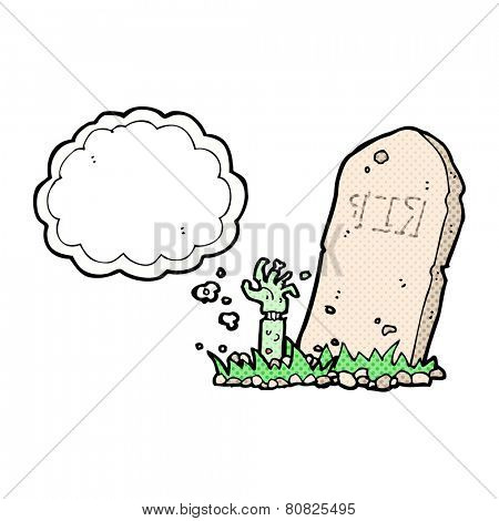 cartoon zombie rising from grave with thought bubble