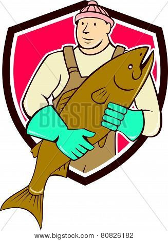 Fishmonger Holding Fish Shield Cartoon