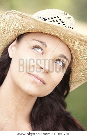 Girl Wearing Summer Hat