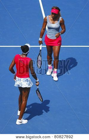 Grand Slam champions Serena Williams and Venus Williams during quarterfinal doubles match at US Open
