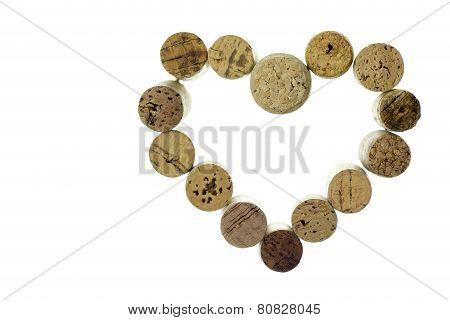 Wine Corks Form A Heart Shape Image Isolated On White Background Horizontal