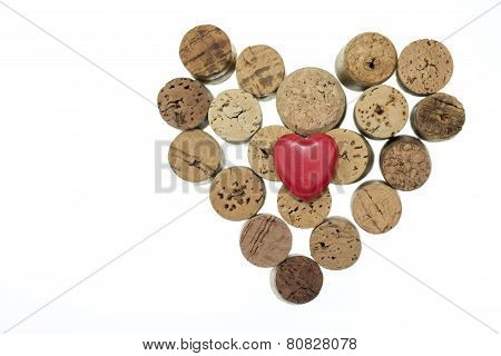 Red Heart With Wine Corks Form A Heart Shape On Isolated White Background Copy Space