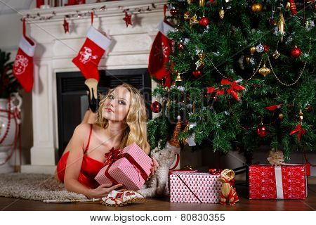 Woman Near Christmas Tree.