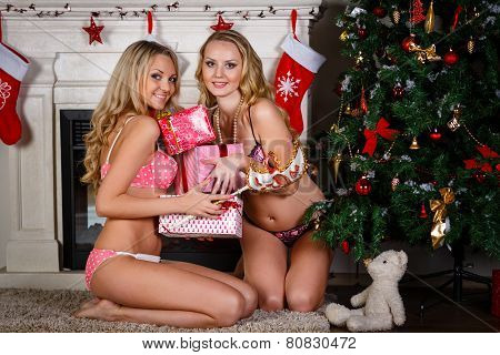 Women Near Christmas Tree.