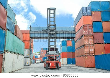 Crane Lifter Handling Container Box Loading To Depot