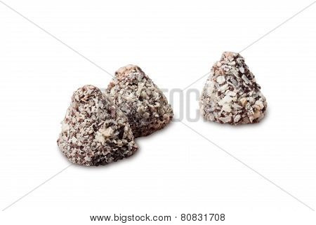 chocolate confectionery on white background
