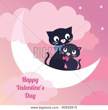 Card Valentines Day Couple Of Lovers Cats
