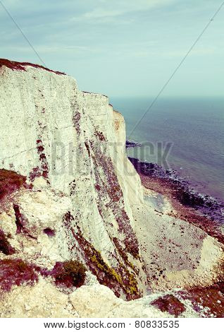 White cliffs south coast of Britain, Dover, famous place for archaeological discoveries and tourist