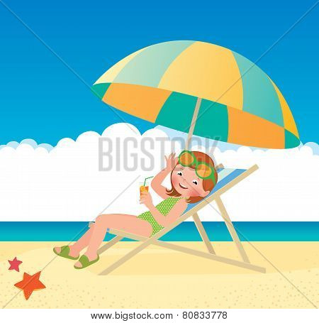 Girl Sunbathes Lying On A Sun Lounger On The Beach