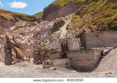 Limestone Quarry, Mining Technique, Andes Mountains, South America