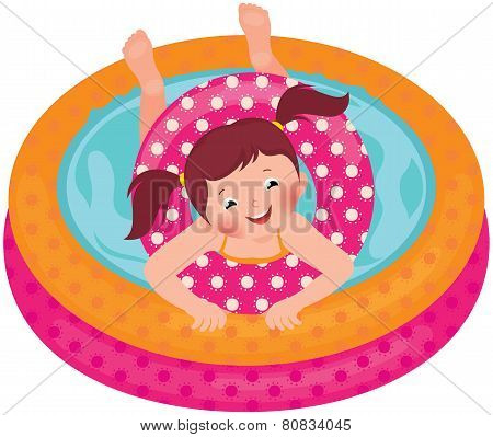 Little Girl Splashing In The Summer Inflatable Pool