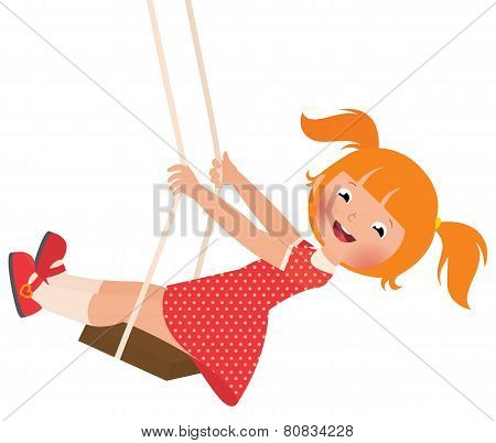 Redhead Girl On A Swing
