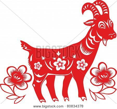 Chinese Year of Goat. Paper cut style.