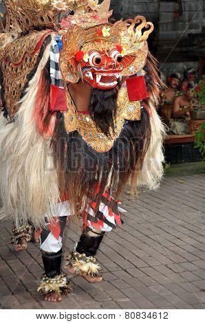 Barong Lion Character Dances On Stage, Bali Indonesia