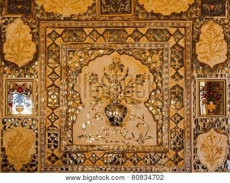 Decoration Of Mirrored Silver Tiles At Amer Palace