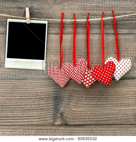Instant Polaroid Photo Frame And Red Hearts. Valentines Day
